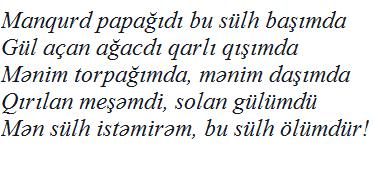 MƏN SÜLH İSTƏMİRƏM...