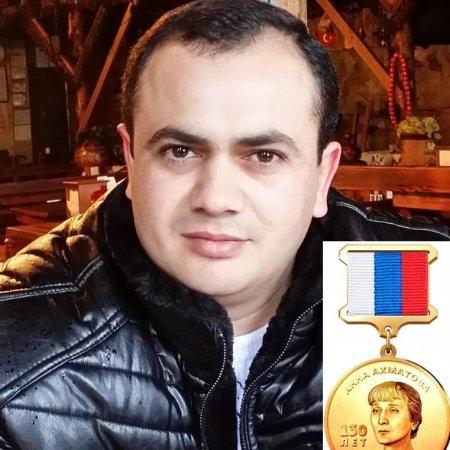 """Şair Yaşar Süleymanlı  Moskvada  """"Anna Axmatova- 130 il"""" medalına layiq görülüb"""